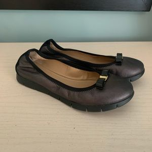 Salvatore Ferragamo Metallic Black Flat